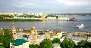 Nizhny Novgorod cityscape in the morning of july Royalty Free Stock Images