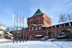 Nizhny Novgorod fortress at winter Royalty Free Stock Images