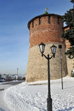 Nizhny Novgorod fortress at winter Royalty Free Stock Images