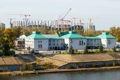 Nizhny Novgorod Ideia do estádio sob a construção Fotografia de Stock