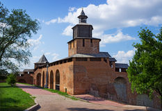 Nizhny Novgorod Kreml, clock tower. RUSSIA, NIZHNY NOVGOROD - AUG 06, 2014: Nizhny Novgorod Kremlin over five hundred years. This is one of the towers royalty free stock images
