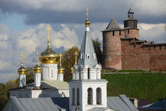 Nizhny Novgorod Kremlin and church Royalty Free Stock Images