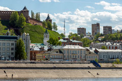 Nizhny Novgorod Kremlin and the old houses on the Nizhne-Volzhskaya Embankment. Nizhny Novgorod Kremlin and the Nizhne-Volzhskaya Embankment. Roofs and domes Stock Photos