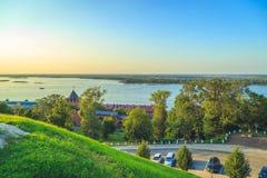 The Nizhny Novgorod Kremlin and the Volga River stock image