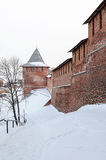 Nizhny Novgorod Kremlin wall and tower in winter Royalty Free Stock Photo