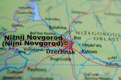 Nizhny Novgorod on map. Close up shot of Nizhny Novgorod. Nijni Novgorod Royalty Free Stock Photos