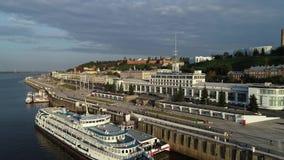 Nizhny Novgorod: nuevos terraplén y naves en el Volga metrajes