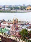 Nizhny Novgorod pilsammanflöde av Volgaen och Okaen Royaltyfri Bild