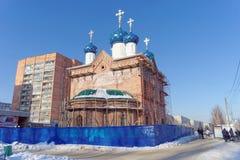 Nizhny Novgorod, Rússia - 15 de fevereiro 2018 Igreja em honra do ícone da mãe de alegria inesperada do deus no imagens de stock royalty free