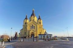 Nizhny Novgorod, Rússia - 16 de novembro 2018 A catedral de Alexander Nevsky fotos de stock royalty free