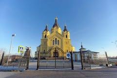 Nizhny Novgorod, Rússia - 16 de novembro 2018 A catedral de Alexander Nevsky imagem de stock
