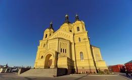Nizhny Novgorod, Rússia - 16 de novembro 2018 A catedral de Alexander Nevsky foto de stock royalty free