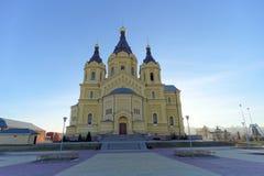Nizhny Novgorod, Rússia - 16 de novembro 2018 A catedral de Alexander Nevsky fotografia de stock royalty free