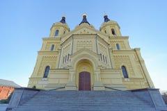 Nizhny Novgorod, Rússia - 16 de novembro 2018 A catedral de Alexander Nevsky foto de stock