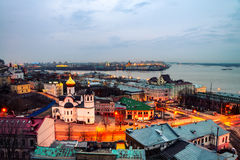 Nizhny Novgorod, Rússia na noite Fotos de Stock Royalty Free