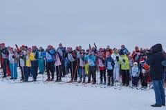 NIZHNY NOVGOROD, RUSIA - 11 DE FEBRERO DE 2017: Ski Competition Russia 2017 Azul, tarjeta, huésped, embarque, ejercicio, extremo, Imagen de archivo