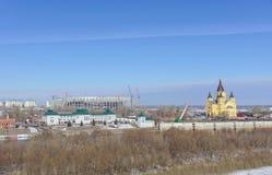 Nizhny Novgorod, Rusia - 14 de marzo 2017 La catedral de Alexander Nevsky Imagen de archivo libre de regalías