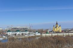 Nizhny Novgorod, Rusia - 14 de marzo 2017 La catedral de Alexander Nevsky Foto de archivo libre de regalías