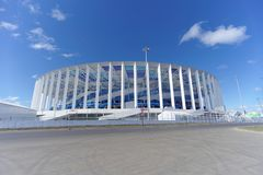 Nizhny Novgorod, Rusia - 10 de mayo 2018 Construcción del estadio en Nizhny Novgorod al mundial 2018 de la FIFA Imagenes de archivo