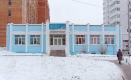 Nizhny Novgorod, Rusland - 9 februari 2017 Kinderen` s Muziek en koorschoolveldleeuwerik op Timiryazev-Straat 3 Royalty-vrije Stock Fotografie