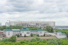 Nizhny Novgorod, Rusland - 27 juni 2017 Bouw van het stadion in Nizhny Novgorod aan de Wereldbeker 2018 van FIFA Royalty-vrije Stock Foto