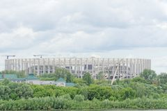 Nizhny Novgorod, Rusland - 27 juni 2017 Bouw van het stadion in Nizhny Novgorod aan de Wereldbeker 2018 van FIFA Stock Foto's