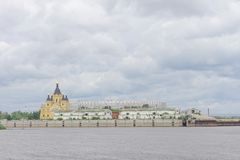 Nizhny Novgorod, Rusland - 27 juni 2017 Bouw van het stadion in Nizhny Novgorod aan de Wereldbeker 2018 van FIFA Royalty-vrije Stock Fotografie