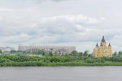Nizhny Novgorod, Rusland - 27 juni 2017 Bouw van het stadion in Nizhny Novgorod aan de Wereldbeker 2018 van FIFA Stock Fotografie