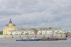 Nizhny Novgorod, Rusland - 27 juni 2017 Bouw van het stadion in Nizhny Novgorod aan de Wereldbeker 2018 van FIFA Royalty-vrije Stock Foto's