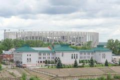Nizhny Novgorod, Rusland - 27 juni 2017 Bouw van het stadion in Nizhny Novgorod aan de Wereldbeker 2018 van FIFA Stock Foto