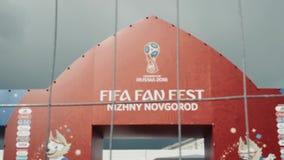 NIZHNY NOVGOROD, RUSLAND - Juni 8, 2018: Mening van de tribune van de Ventilatorfest van FIFA in van de binnenstad, om de bezoeke stock videobeelden