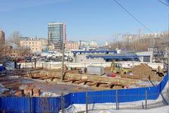 Nizhny Novgorod, Rusland - 14 maart 2017 Bouw van het metro Vierkant van postlenin Royalty-vrije Stock Afbeelding