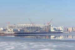 Nizhny Novgorod, Rusland - 14 maart 2017 Bouw van het stadion in Nizhny Novgorod aan de Wereldbeker 2018 van FIFA Royalty-vrije Stock Foto