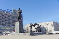 Nizhny Novgorod, Rusland - 14 maart 2017 Het monument aan Vladimir Ilyich Lenin op het Vierkant van Lenin Stock Afbeeldingen