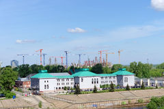 Nizhny Novgorod, Rusland - 19 mei 2016 Bouw van het stadion in Nizhny Novgorod aan de Wereldbeker 2018 van FIFA Stock Fotografie