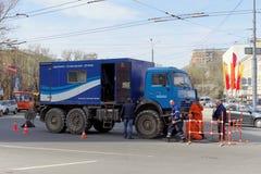Nizhny Novgorod, Russia. - April 26.2016. Car emergency technical service Nizhny Novgorod Vodokanal in Liberty Square. Nizhny Novgorod, Russia. - April 26.2016 Stock Image