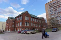 Nizhny Novgorod, Russia. - April 22.2016. City School named after Mikhail Lomonosov in the Verkhnevolzhskaya embankment. Royalty Free Stock Photography