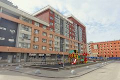 Nizhny Novgorod, Russia. - April 26.2016. Outfitted yard area with a children's playground on the street Nevzorov 64. Stock Images