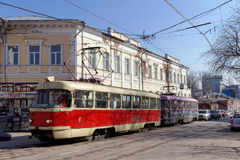 Nizhny Novgorod, Russia. - April 13.2016. Tram route 21 at the intersection of Bolshaya Pokrovskaya and October. Royalty Free Stock Images