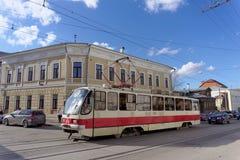 Nizhny Novgorod, Russia. - April 22.2016. Tram Route 1 at the intersection of Bolshaya Pokrovskaya and October. Royalty Free Stock Photo