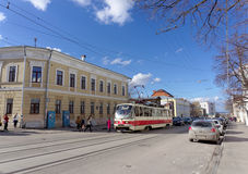 Nizhny Novgorod, Russia. - April 22.2016. Tram Route 1 at the intersection of Bolshaya Pokrovskaya and October. Royalty Free Stock Images