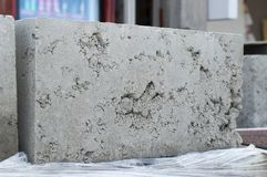 Concrete hollow block for construction. Sold for sale. Construction market. stock photography