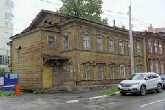 nizhny novgorod Russia - Czerwiec 23 2017 Stary drewniany dom na ulicznym Slavyanskaya Obraz Royalty Free