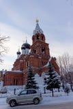 Nizhny Novgorod russia - December 02 2016 Övervintra sikten av templet av denbarmhärtiga frälsaren Royaltyfria Bilder