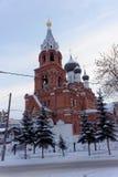 Nizhny Novgorod russia - December 02 2016 Övervintra sikten av templet av denbarmhärtiga frälsaren Royaltyfria Foton