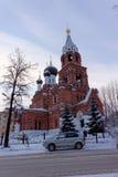 Nizhny Novgorod russia - December 02 2016 Övervintra sikten av templet av denbarmhärtiga frälsaren Arkivfoton