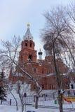 Nizhny Novgorod russia - December 02 2016 Övervintra sikten av templet av denbarmhärtiga frälsaren Arkivbilder