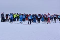NIZHNY NOVGOROD, RUSSIA - FEBRUARY 11, 2017: Ski Competition Russia 2017. Winter sports. Family championship. Royalty Free Stock Image