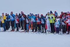 NIZHNY NOVGOROD, RUSSIA - FEBRUARY 11, 2017: Ski Competition Russia 2017. Winter sports. Family championship. NIZHNY NOVGOROD, RUSSIA - FEBRUARY 11, 2017: Ski Stock Photography