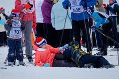 NIZHNY NOVGOROD, RUSSIA - FEBRUARY 11, 2017: Ski Competition Russia 2017. Winter sports. Family championship. Children Royalty Free Stock Image